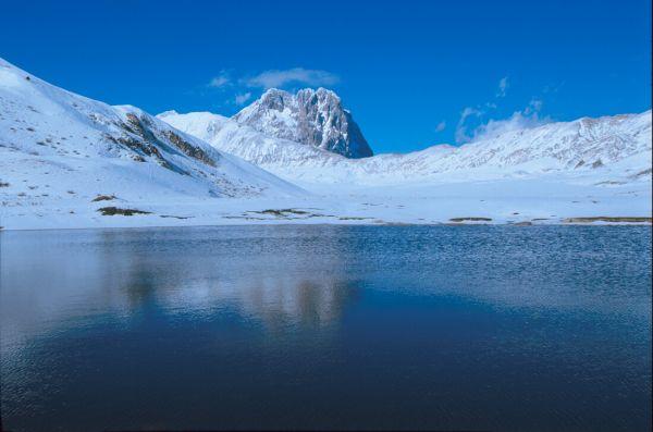 Fotografare un lago di montagna con la neve